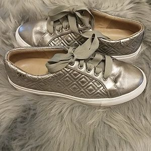 Tory Burch silver marion quilted sneakers